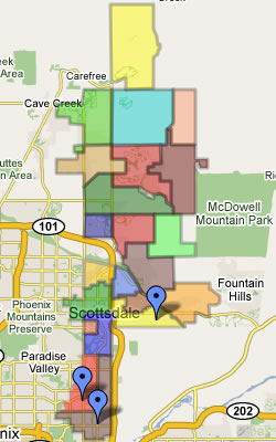 Scottsdale Real Estate Map with subdivisions and neighborhoods.
